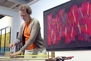 Image: Artist Mary Kircher working in her studio at Artspace